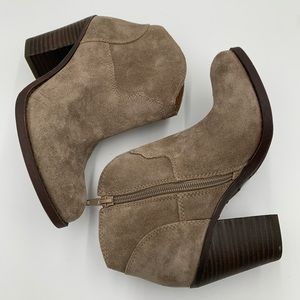 Lucky Brand bootie suede like gray/tan colors